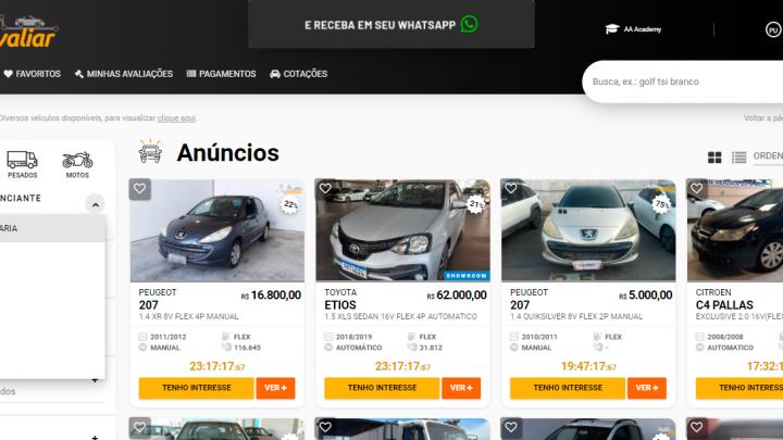 Quais as principais fontes de compras de veículos na Auto Avaliar?